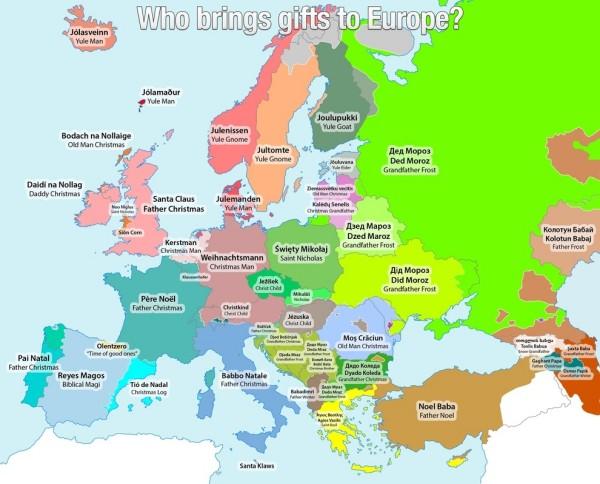 Names for Santa across Europe [map] - Alltop Viral