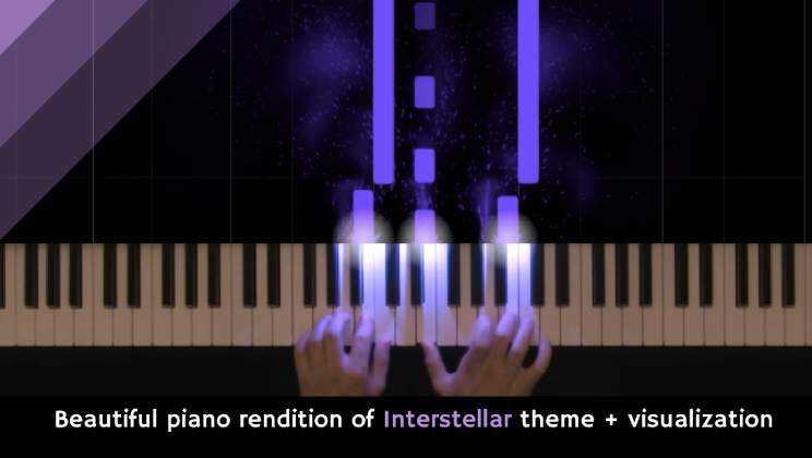 Beautiful piano rendition of Interstellar theme + visualization