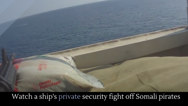 Watch a ship's private security fight off Somali pirates