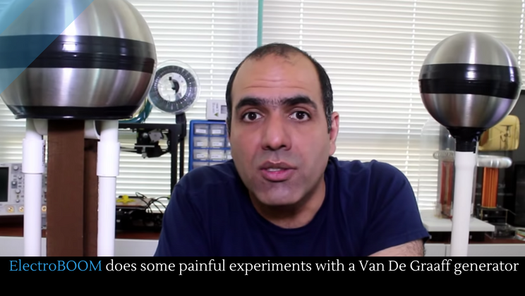 ElectroBOOM does some painful experiments with a Van De Graaff